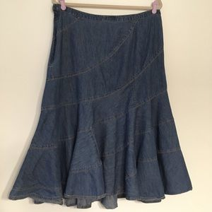 Lauren Ralph Lauren tiered denim midi skirt 12
